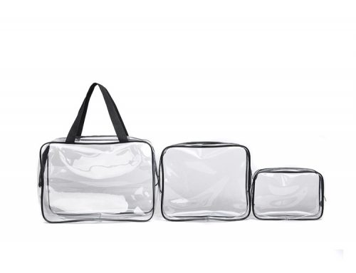 Promotion 25s heat seal clear transparent pvc cosmetic bag